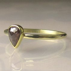 Chocolate Rose Cut Diamond Engagement Ring 14k by JanishJewels