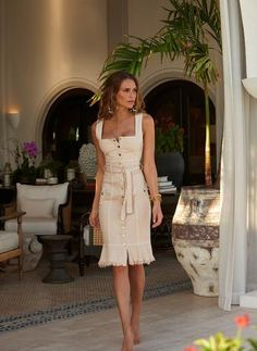 Complete with luxurious golden branded buttons, the Ruby Denim Dress in Tan is a must-have for your vacation! Discover fast and reliable delivery online. Tan Dresses, Beach Dresses, Cute Dresses, Beautiful Summer Dresses, Beautiful Outfits, Cool Outfits, Dressy Outfits, Summer Outfits, Fitted Denim Dress