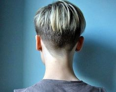 Love the super short buzzed nape and tapering up to the highlighted longer hair.