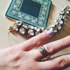 J.Crew statement ring This beautiful pave stone ring is a true work of art! Size 6, like new. J. Crew Jewelry Rings