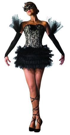 Adult size Black Swan Ballerina Costume  This gorgeous Black Swan Ballerina Costume is ideal for anyone looking to recreate Natalie Portmans' Black Swan image!  This gothic outfit comes complete with Black and White Elegant Designed Dress with Ruffled Skirt and Matching Black Leg Ribbons to finish off the look.  Perfect for any Season!  Includes: Corset dress with ribbon tie, Glovelets and Leg Ribbons