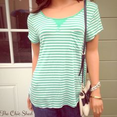 Kensie Green Striped Tee Casual cool! Light weight, loose, stretchy. Pretty kelly green and white striped shirt. Perfect for any occasion! Like new!👗The Chic Shed; A Current and Classic Fashion Curation. 👗 🎁10% OFF BUNDLES🎁 I ❤️ THE OFFER BUTTON😊 ❌NO PP, TRADES, HOLDS❌  💖15% OFF RETURN BUYER BUNDLES💖 Kensie Tops