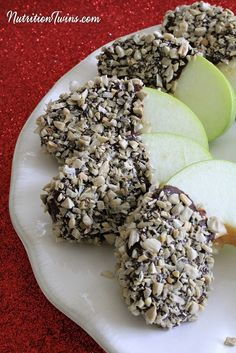 Chocolate Apple Slices | Only 73 Calories | Healthy treat | Great guilt-free dessert | For Nutrition & Fitness Tips &MORE RECIPES please SIGN UP for our FREE NEWSLETTER NutritionTwins.com