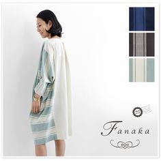 【Fanaka ファナカ】パターン ストライプ 背中切替 コクーン ワンピース(71-2144-101)