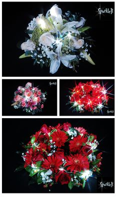 Sparkle Flowers.  From a wedding centerpiece to a floral Christmas wreath adding Sparkle adds elegance.  Sparkle Ribbon has 6 LED lights embedded on a strand of ribbon with a battery housing easy to tuck under foliage to keep out of sight.