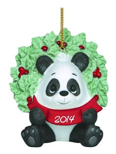 Precious Moments Christmas Happy Holly Days Panda Ornament New Dated 2014 141007