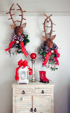 Custom deer heads created by Sandy Maccioli of Awesome Abode, Raleigh, NC.