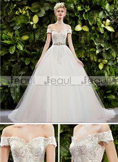 Ball Gown Lace Square Shoulder Court Train Wedding Dress