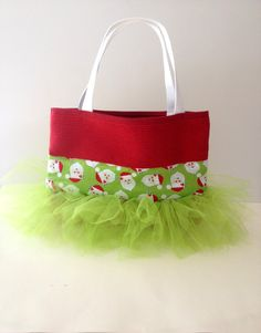Green Santa Tutu Tote Bag on Etsy, $24.00