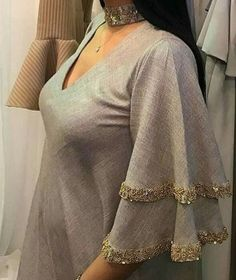 Sleeves Designs For Dresses Kurti Sleeves Design, Sleeves Designs For Dresses, Kurta Neck Design, Neck Designs For Suits, Dress Neck Designs, Blouse Designs, Sleeve Designs For Kurtis, Stylish Dresses, Fashion Dresses