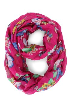 Deb Shops Woven Scarf with Floral Butterfly Print $9.00