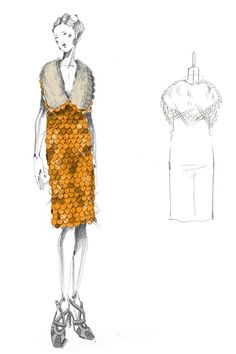 An orange organza dress, covered with plastic, scale-like, sequin embroidery, inspired by Prada's autumn/winter 2011-12 show.