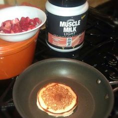 Muscle Milk Protein Pancakes -   6 egg whites.   ½ cup oatmeal (uncooked and pulsed in a food processor until consistency of flour).   1 scoop any flavor of Muscle Milk or Muscle Milk Light powder.   Mix all ingredients together and cook. Makes 2 pancakes.