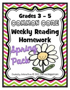 Common Core Weekly Reading Homework (Grades 3-5) - Spring Pack