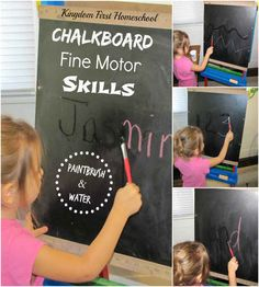 Have kids practice their fine motor skills by painting with water on chalkboard.