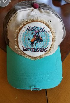 Cowgirl gypsy HOLD YOUR HORSES Rodeo Distressed cap hat western | Clothing, Shoes & Accessories, Women's Accessories, Hats | eBay!