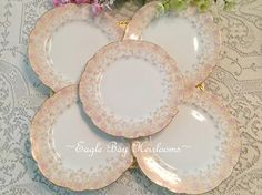 5 Scalloped French Porcelain Lunch Plates Antique D & Co.
