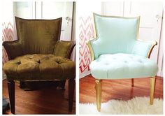 scooped up this little baby on the a yard sale for $5! Cuh-razy!!! I sprayed the wood with Rustoleum Metallic Gold and upholstered it with a mint fabric I found at Joann's.