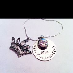 Hand stamped jewelry. For local 'Miss Queen of Charities'  loveletterjewelry...