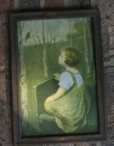Antique Framed Print Little Girl Bird Bench John Drescher Co. NY Songbird 1920s