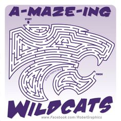 K-State Powercat Maze posted on my Robel Graphics Facebook page for National Game And Puzzle Week. Kansas State University, Kansas State Wildcats, National Games, Alma Mater, Holidays And Events, Cheerleading, Sports Teams, Maze, Teaching Ideas