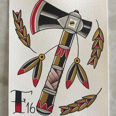 Tattoo old school bear american traditional 20 ideas Native Tattoos, Old Tattoos, Arrow Tattoos, Feather Tattoos, Sleeve Tattoos, Tattoos For Guys, Axe Tattoo, Berg Tattoo, Tattoo Designs