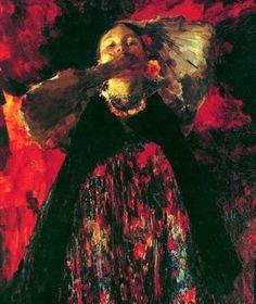 Maliavine - Jeune danseuse en rouge