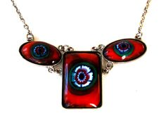 Lovely, Vintage Millefiori, Red Murano Glass, Modernist Design, Made in Italy, Choker Necklace via Etsy