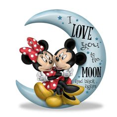 Amazon.com: Disney Mickey Mouse and Minnie Mouse I Love You To The Moon And Back Figurine by The Hamilton Collection: Home & Kitchen