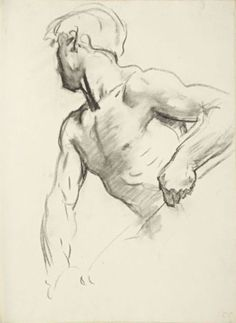 """""""Study for Angel at Far Left"""" - John Singer Sargent (Florence, Italy 1856–1925 London), England, """"Israel and the Law,"""" Boston Public Library {male torso face profile} #arthistory"""