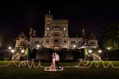 Light writing at Hatley Castle wedding Park Weddings, Castle Weddings, Dream Wedding, Wedding Day, Wedding Things, Wedding Catering, Wedding Venues, Hatley Castle, Light Writing