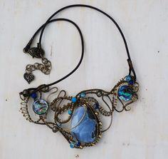 Blue Lace Agate Abalone Shell Sediment Jasper Wire Wrap Ocean Artisan Necklace #Jeanninehandmade #Wrap