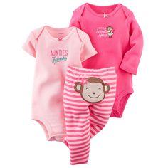Baby Girl 3-Piece Bodysuit & Pant Set | Carters.com