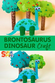 Make a super simple brontosaurus with a paper plate and some paper tubes! Paper Plate Crafts For Kids, Animal Crafts For Kids, Summer Crafts For Kids, Paper Crafts For Kids, Toddler Crafts, Fun Crafts, Toilet Paper Crafts, Kids Fun, Dinosaur Activities