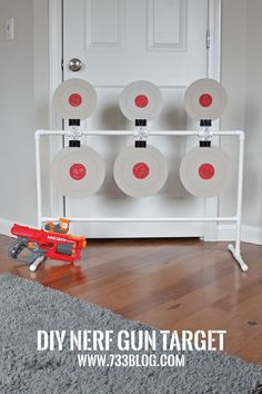 DIY PVC Nerf Spinning Target - This would make a great activity at a Nerf Birthday Party! Easy and inexpensive to build. DIY PVC Nerf Spinning Target - This would make a great activity at a Nerf Birthday Party! Easy and inexpensive to build. Nerf Birthday Party, Nerf Party, Spy Party, Party Games, Carnival Birthday, Pvc Projects, Projects For Kids, Diy For Kids, Nerf Gun Storage
