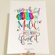 "Tina, UK (@teenyletters) on Instagram: ""Rainbow foil and Roald Dahl ✨ . . . #lettering #handlettering #calligraphy #moderncalligraphy…"""