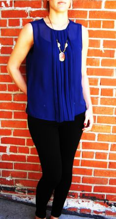 This outfit is a BBDakota look. Black BBDakota stretch jeans with an adorable navy blue pleated blouse! Both pieces are easily altered to look more business-like or casual. Look at the rest of the ways we love these pieces in our Nine-to-five.to.[[Party!]] board! Follow elesch boutique on Facebook! #elesch #eleschboutique #fashion #elegant #fresh #womensfashion #style #BBDakota
