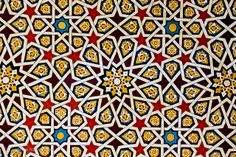 Patterns on a mosque ceiling in Aswan, Egypt.