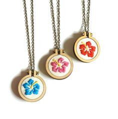 Hibiscus mini embroidery hoop necklace or by SnowbirdArtworks