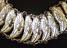 White Enamel Sterling Silver Bracelet Siam by RenaissanceFair