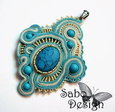 METEORA  soutache pendant handmade embroidered in by SaboDesign