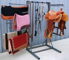 Space Saver Horse Tack Room Organizer, I love the blankets being hung like this.