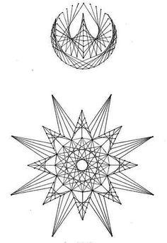 Nerinai.eu - nėriniai, mezginiai, nėrinių brėžiniai, pamokos bei patarimai - simegrafijos technikos pavyzdžiai String Art Templates, String Art Tutorials, String Art Patterns, Arte Linear, String Wall Art, Sewing Cards, Spirograph, Geometry Art, Thread Art