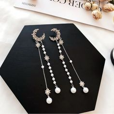 Available on Memplaza Marketplace at only $11.41 or with Membidder starting off at $1.00 during live auctions! Worldwide Shipping. Heart Shaped Earrings, Moon Earrings, Silver Drop Earrings, Clip On Earrings, Stud Earrings, Pearl Chain, Stainless Steel Earrings, Love Bracelets, Pearl Jewelry