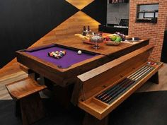 Amazing Pool Table Dining Room Table With Bench