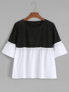 Black & White Bell Sleeve Peplum Tee