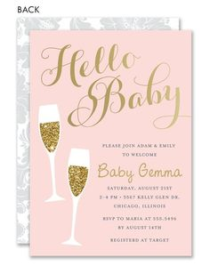 Glam Pink Sip and See Invitation