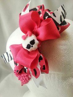 Monster high bow on crochet headband