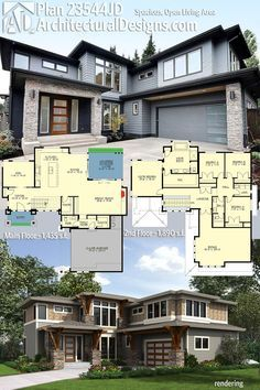 Architectural Designs Modern House Plan 23544JD comes to life! The home gives you 4 beds, 2.5 baths and over 3,300 square feet of heated living space. Lots of photos online! Ready when you are. Where do YOU want to build?