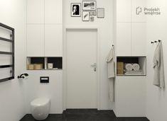 Łazienka tapeta biało czarna we wzory - aranżacja | PROJEKT WNĘTRZE Mirror, Mirrors